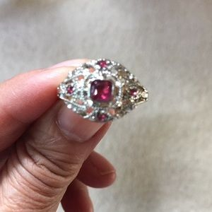 Jewelry - 925 Sterling Art Deco 10k White Gold Ruby Ring